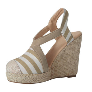 Straw Wedges Striped Closed Toe Thick Heel Wedges
