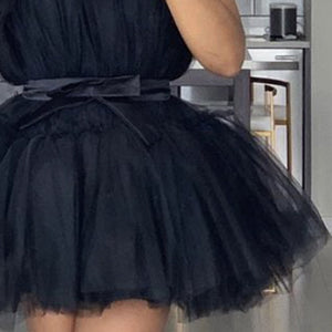 Mesh Tutu Sleeveless Backless Black Yellow Party Wedding Pleated Dress