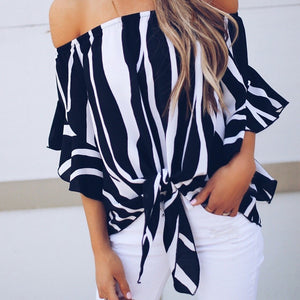 Off Shoulder Ruffled Half Sleeve Bow Tie Blouse