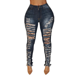 Mid Waist Big Hole Ripped Denim Jeans