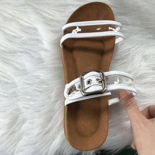 Load image into Gallery viewer, Flat Transparent Jelly Slides Open Toe Buckle Strap Flip Flops