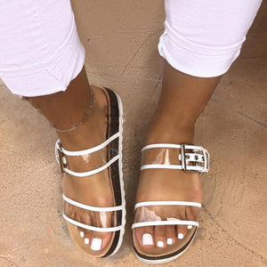 Flat Transparent Jelly Slides Open Toe Buckle Strap Flip Flops