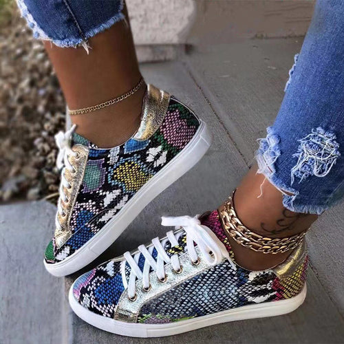 Snake Print PU Leather Lace up Sneakers