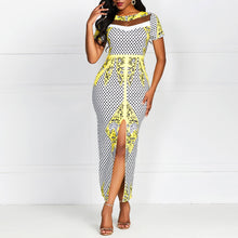 Load image into Gallery viewer, Long Mesh See Through Yellow Floral Plaid Elegant Split Maxi Dress