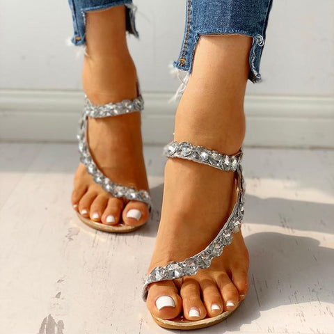 Crystal Wedges Elastic Band Rhinestones Low Heels Sandals