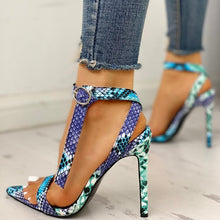 Load image into Gallery viewer, Snake Skin Thin High Heels Lace Up Peep Toe Heels