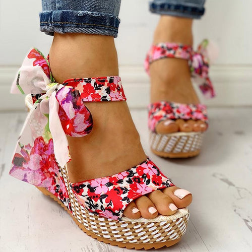 Wedge Floral Bowknot Bohemian Open Toe Sandals