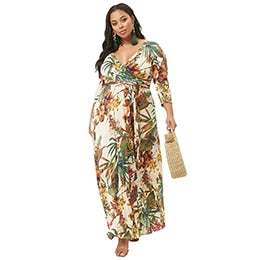 V-Neck Plus Size 3/4 Sleeve Colorblock Long Maxi Dress