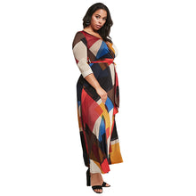 Load image into Gallery viewer, V-Neck Plus Size 3/4 Sleeve Colorblock Long Maxi Dress