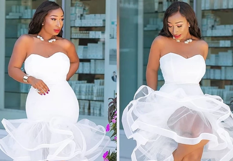 White Party Tube Top Wedding Off Shoulder Mesh Dress