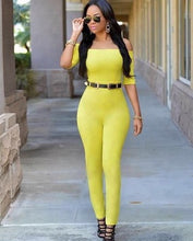 Load image into Gallery viewer, Yellow off shoulder jumpsuit - kats closet1