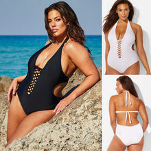 Load image into Gallery viewer, One-Piece Plus Size Padded Lace Up Swimsuit - kats closet1
