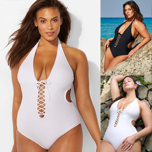One-Piece Plus Size Padded Lace Up Swimsuit - kats closet1