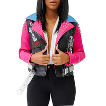 Load image into Gallery viewer, Colorful  Zipper PU Leather Long-Sleeve Short Jacket