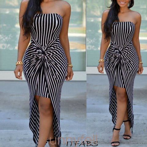 Strapless Maxi Dress Plus Size Tube Top Long Sundress Cover Up Sleeveless Stripes Bandage Dresses