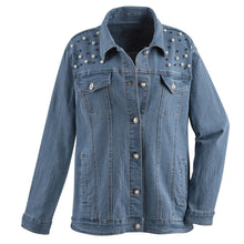 Load image into Gallery viewer, Denim Jacket - Pearl and Crystal - kats closet1