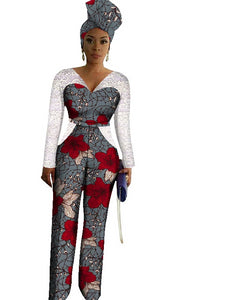 African Print Long Jumpsuit With Free Head Scarf