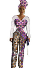 Load image into Gallery viewer, African Print Long Jumpsuit With Free Head Scarf