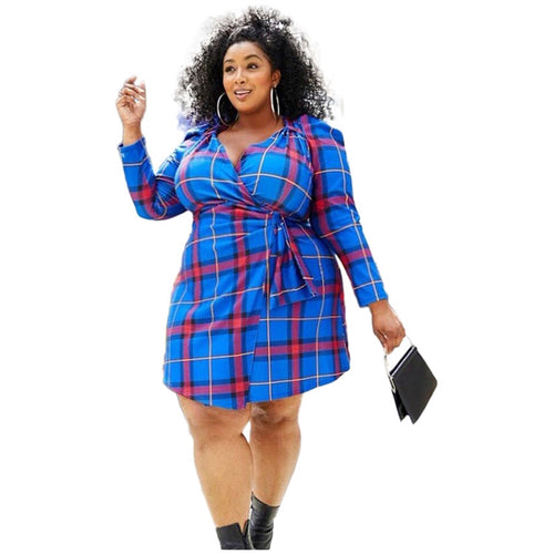 Plus Size Plaid Lace-Up Long Sleeve V Neck Dress