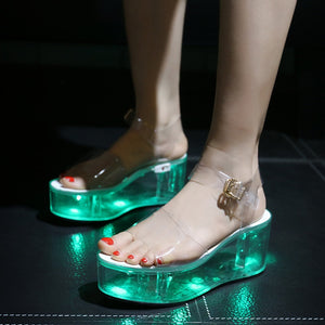 LED Lights Charged Platform Clear Transparent Crystal Sandals