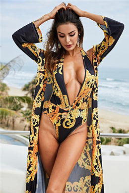 Shawl Sun Protection With Halter Slim Swimsuit