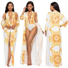 Load image into Gallery viewer, Shawl Sun Protection With Halter Slim Swimsuit
