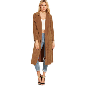 Sheinside Brown Suede Self Tie Duster Trench Coat 2017 Long Sleeve Wrap Long Outer With Belt Women Casual Winter Workwear Coat - kats closet1