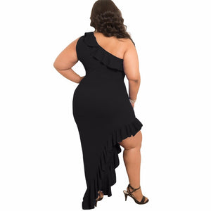 Plus Size One Shoulder Solid Color Ruffle Long Maxi Dress