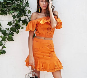 Simplee Sexy off shoulder summer dress women Cotton embroidery ruffle mini dress Boho beach two-piece white dress female 2018 - kats closet1