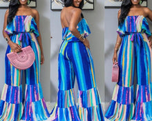 Load image into Gallery viewer, Color Striped Slash Neck Strapless Jumpsuit