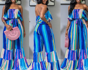 Color Striped Slash Neck Strapless Jumpsuit