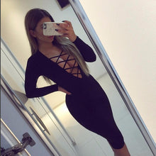 Load image into Gallery viewer, Plus Size Vestidos Cotton Women Tie Up Autumn Bodycon Party Dress Sexy Deep V Neck Criss Long Sleeve Night Club Bandage Dress - kats closet1