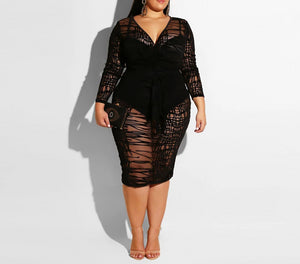 Plus Size Long Sleeve Sexy Lace Long Dress