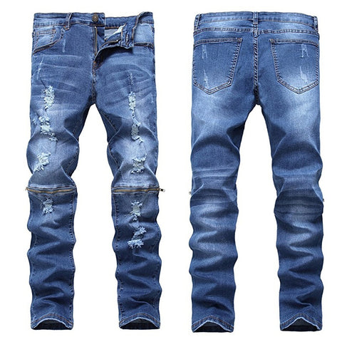 Mens Designed Ripped Straight Slim Fit Denim Jeans - kats closet1
