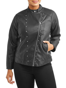 Women's Plus Size Leather Jacket with Assymetrical Zip - kats closet1