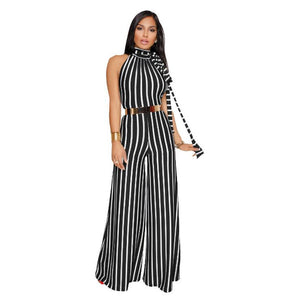 Striped Lace Hang Neck Wide Leg Jumpsuit - kats closet1