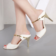 Load image into Gallery viewer, Gold Sliver Open Toe Heels - kats closet1