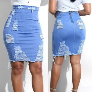Ripped Distressed Denim Mini Short Skirt