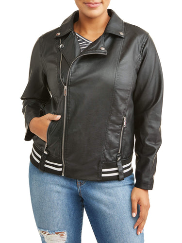 Women's Plus Size Varsity Trim Leather Jacket - kats closet1