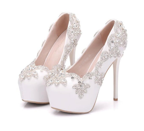Fashion beautiful PU whiteDiamond wedding shoes14cm High-heeled shoes Fine heel Waterproof woman Wedding bride shoes Large size 34-41 - kats closet1
