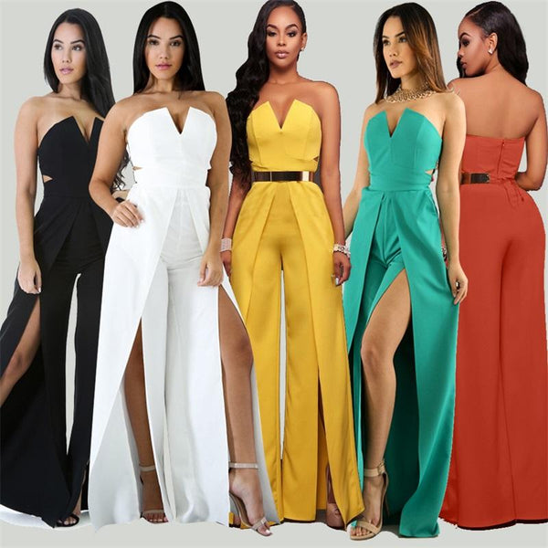 V Neck Off Shoulder Elegant High Waist High Split Wide Leg Jumpsuit
