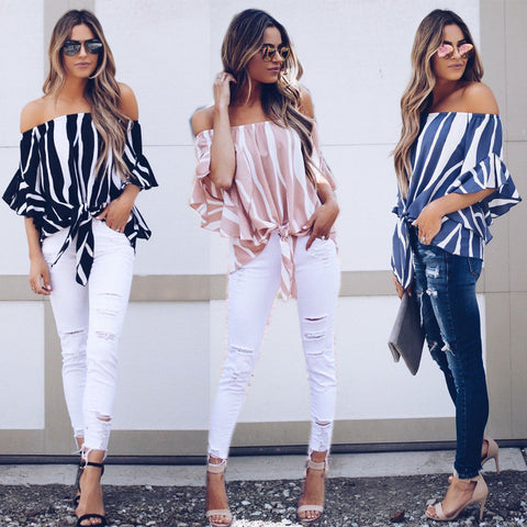 Off Shoulder Stripe Loose Flare Sleeve Blouse