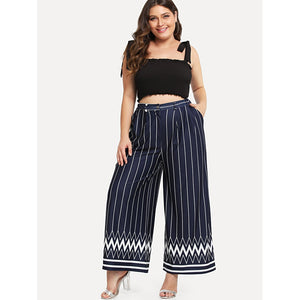 Striped & Chevron Print Wide Leg Pants - kats closet1