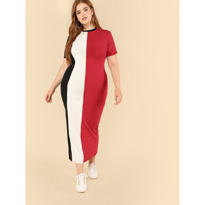 Plus Colorblock Pencil Dress - kats closet1