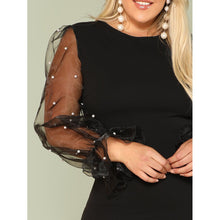 Load image into Gallery viewer, Pearl Beading Mesh Sleeve Pencil Dress - kats closet1