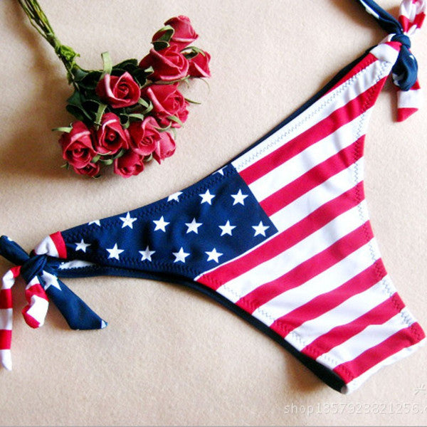 Tassel Fringe American Flag Padded Swimsuit