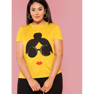 Cartoon Print Tee - kats closet1