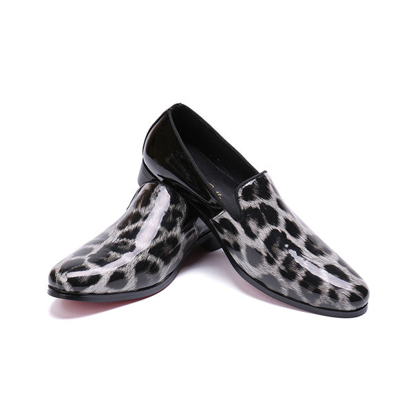 6b3f80012825 ... 2018 Luxury New Fashion Leopard Print Men Loafers Patent Leather Men  Party Shoes Plus Size Casual ...