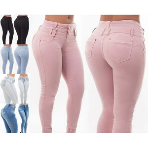 Pink High Waist Skinny Pencil Denim Pants Jeans - kats closet1