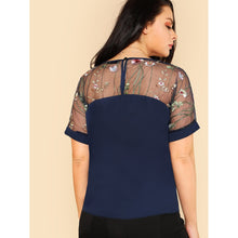 Load image into Gallery viewer, Flower Embroidered Mesh Shoulder Top - kats closet1